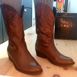 Rampage Brown Faux Snakeskin Cowboy Boots